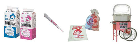 Cotton Candy Supplies - Sugars, Cones, Bags, and Carts