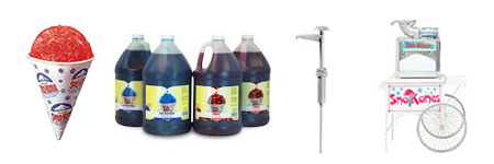 Sno-Kone Supplies - Cups, Syrups, Pumps, and Cart